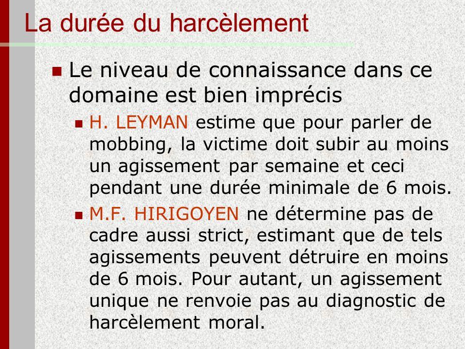 La durée du harcèlement Le niveau de connaissance dans ce domaine est bien imprécis H. LEYMAN estime que pour parler de mobbing, la victime doit subir