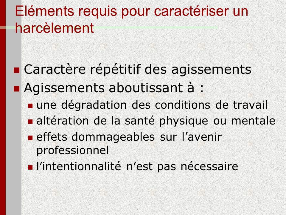Eléments requis pour caractériser un harcèlement Caractère répétitif des agissements Agissements aboutissant à : une dégradation des conditions de tra