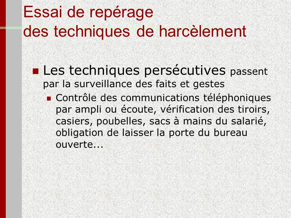 Essai de repérage des techniques de harcèlement Les techniques persécutives passent par la surveillance des faits et gestes Contrôle des communication