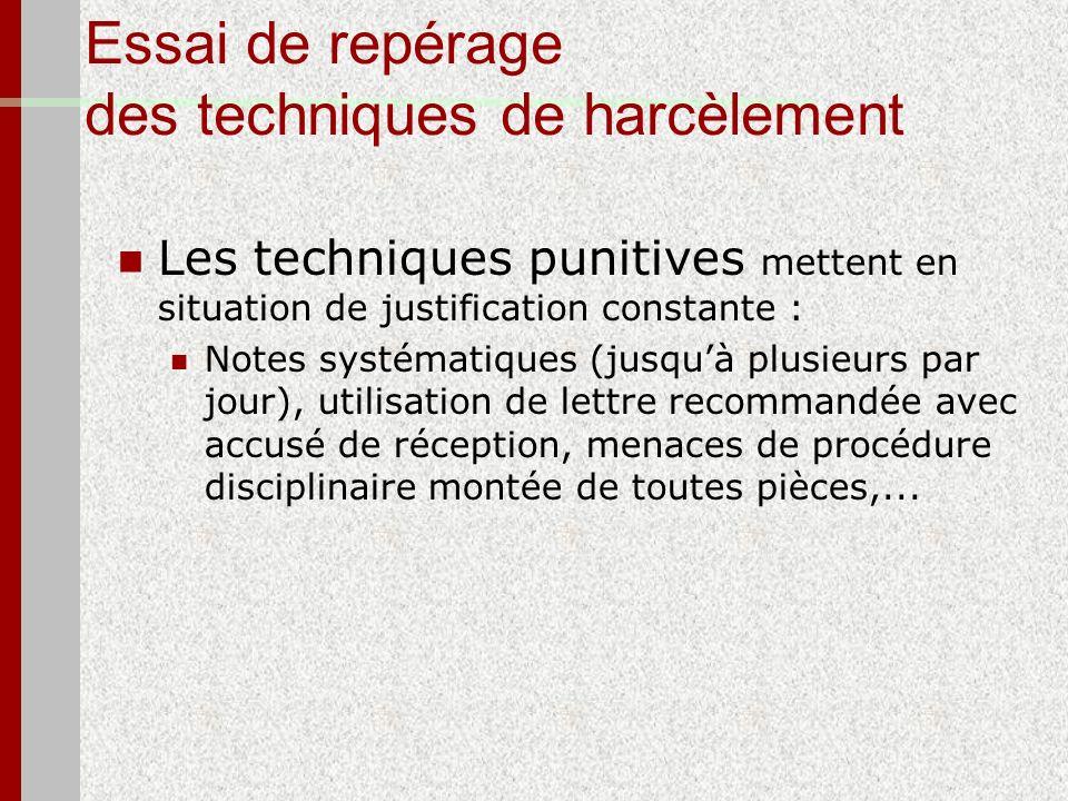 Essai de repérage des techniques de harcèlement Les techniques punitives mettent en situation de justification constante : Notes systématiques (jusquà