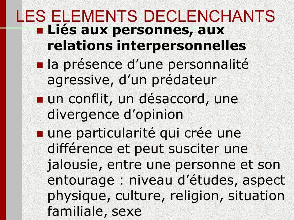LES ELEMENTS DECLENCHANTS Liés aux personnes, aux relations interpersonnelles la présence dune personnalité agressive, dun prédateur un conflit, un dé