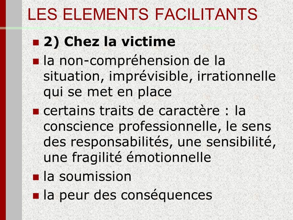 LES ELEMENTS FACILITANTS 2) Chez la victime la non-compréhension de la situation, imprévisible, irrationnelle qui se met en place certains traits de c