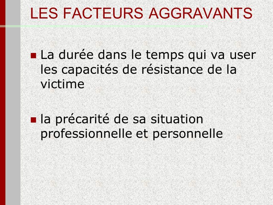 LES FACTEURS AGGRAVANTS La durée dans le temps qui va user les capacités de résistance de la victime la précarité de sa situation professionnelle et p