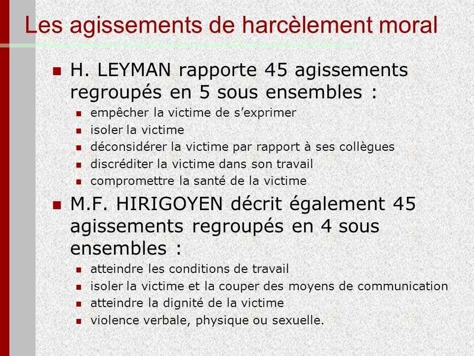 Les agissements de harcèlement moral H. LEYMAN rapporte 45 agissements regroupés en 5 sous ensembles : empêcher la victime de sexprimer isoler la vict