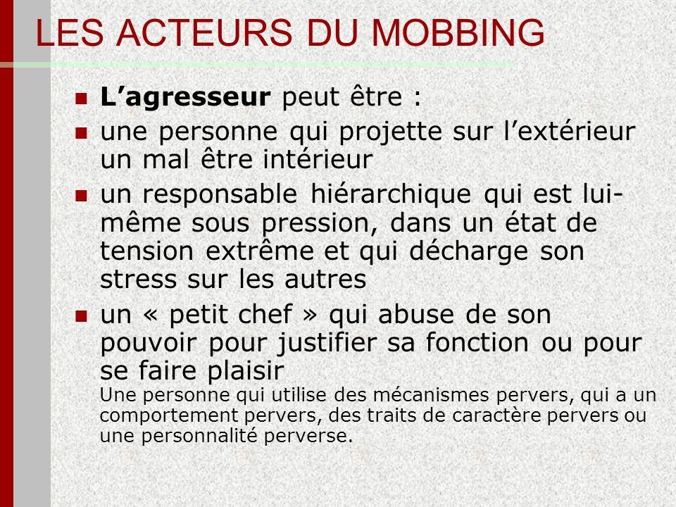 LES ACTEURS DU MOBBING Lagresseur peut être : une personne qui projette sur lextérieur un mal être intérieur un responsable hiérarchique qui est lui-