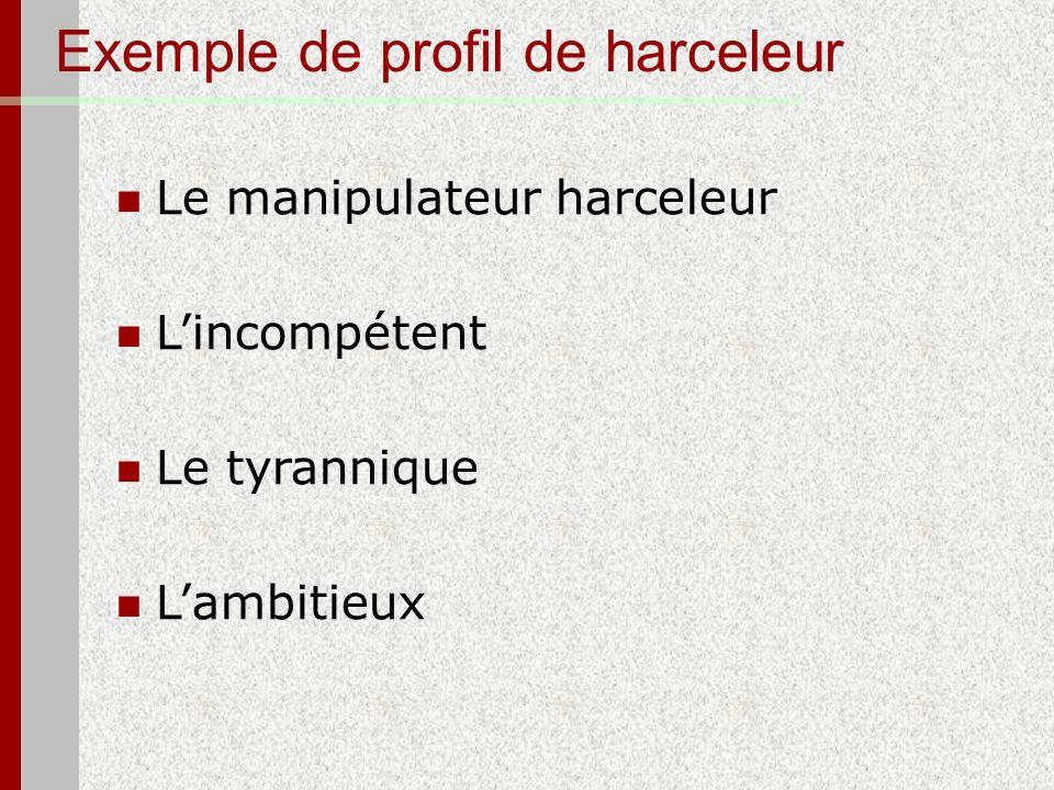 Exemple de profil de harceleur Le manipulateur harceleur Lincompétent Le tyrannique Lambitieux