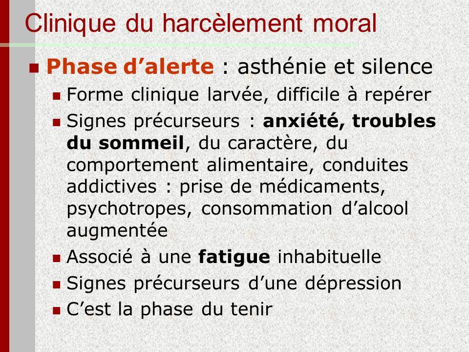 Clinique du harcèlement moral Phase dalerte : asthénie et silence Forme clinique larvée, difficile à repérer Signes précurseurs : anxiété, troubles du