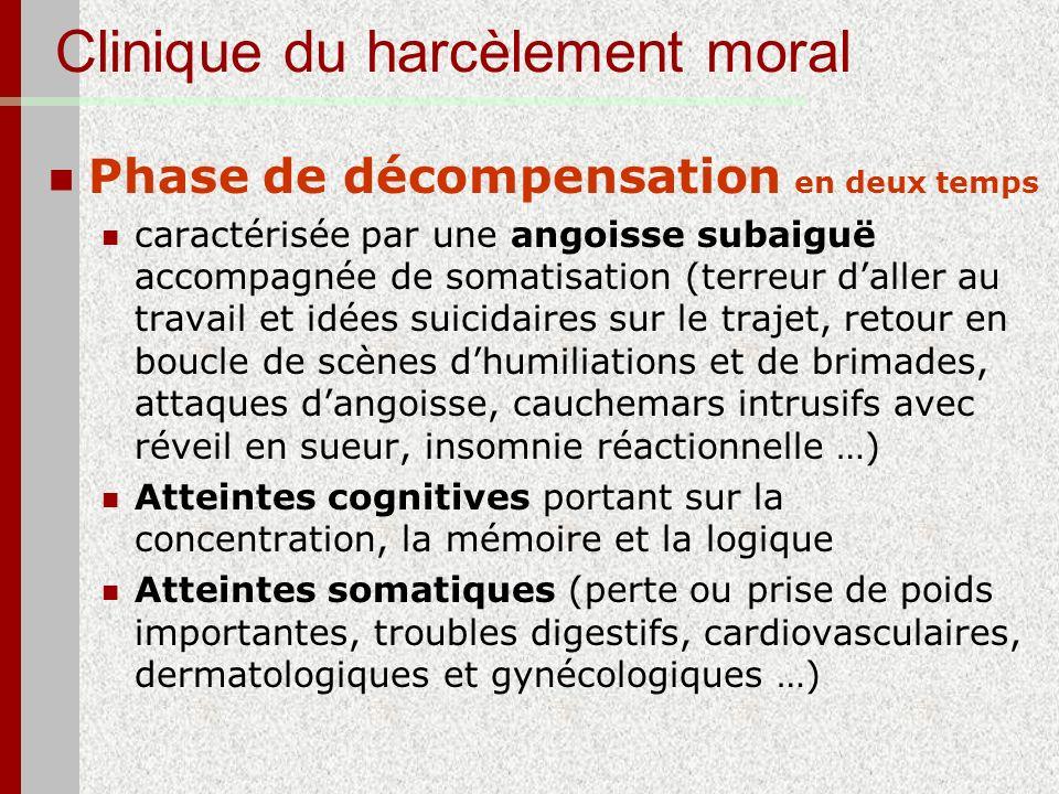 Clinique du harcèlement moral Phase de décompensation en deux temps caractérisée par une angoisse subaiguë accompagnée de somatisation (terreur daller