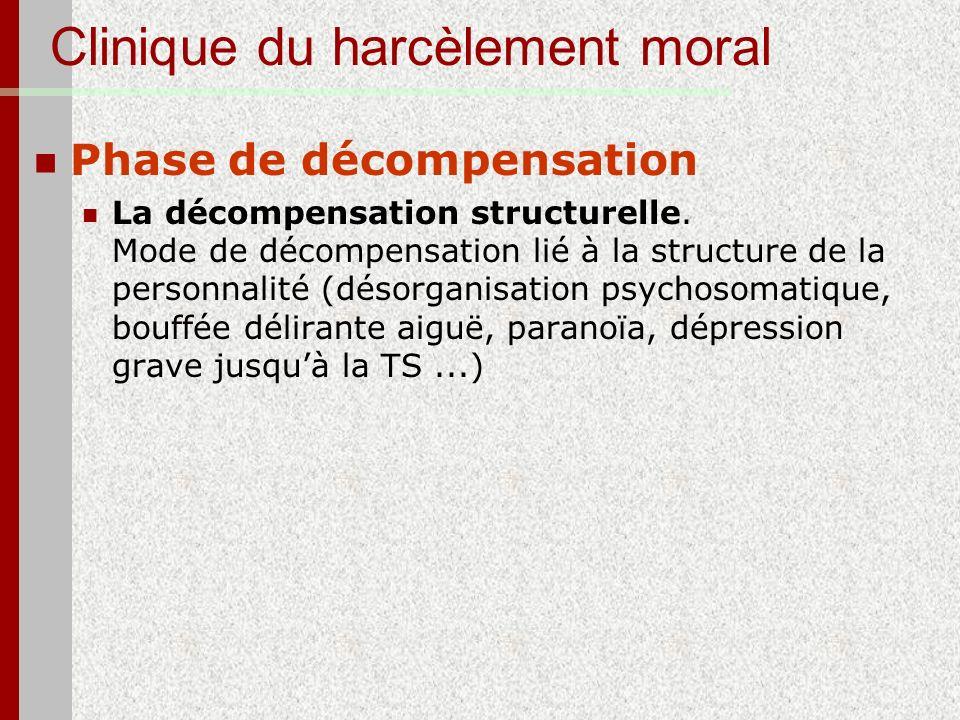 Clinique du harcèlement moral Phase de décompensation La décompensation structurelle. Mode de décompensation lié à la structure de la personnalité (dé
