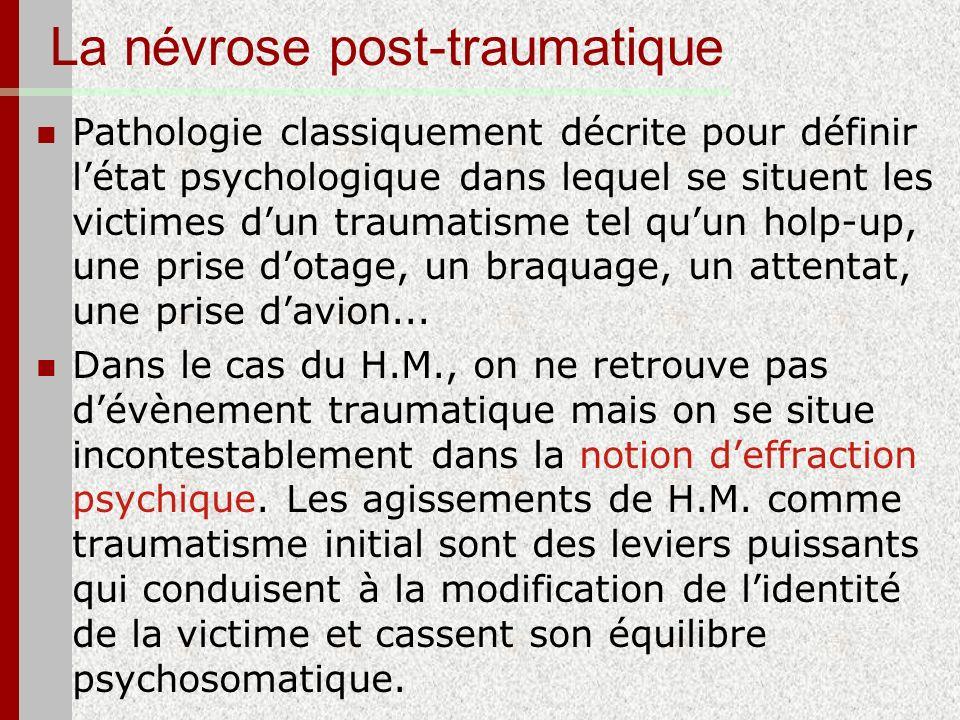 La névrose post-traumatique Pathologie classiquement décrite pour définir létat psychologique dans lequel se situent les victimes dun traumatisme tel