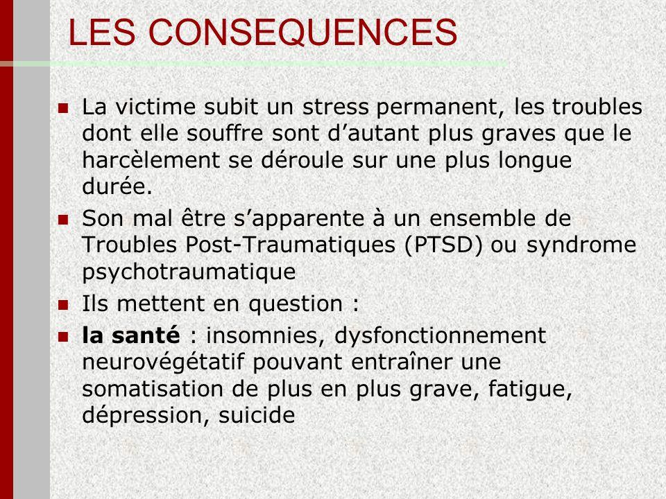 LES CONSEQUENCES La victime subit un stress permanent, les troubles dont elle souffre sont dautant plus graves que le harcèlement se déroule sur une p
