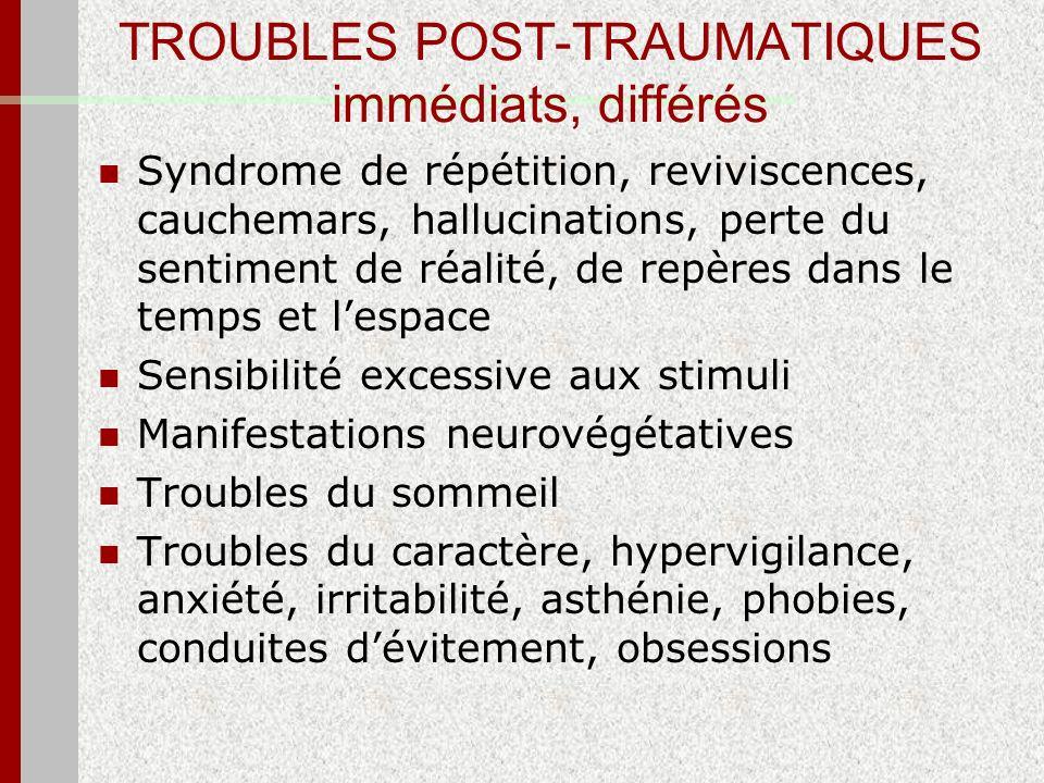 TROUBLES POST-TRAUMATIQUES immédiats, différés Syndrome de répétition, reviviscences, cauchemars, hallucinations, perte du sentiment de réalité, de re