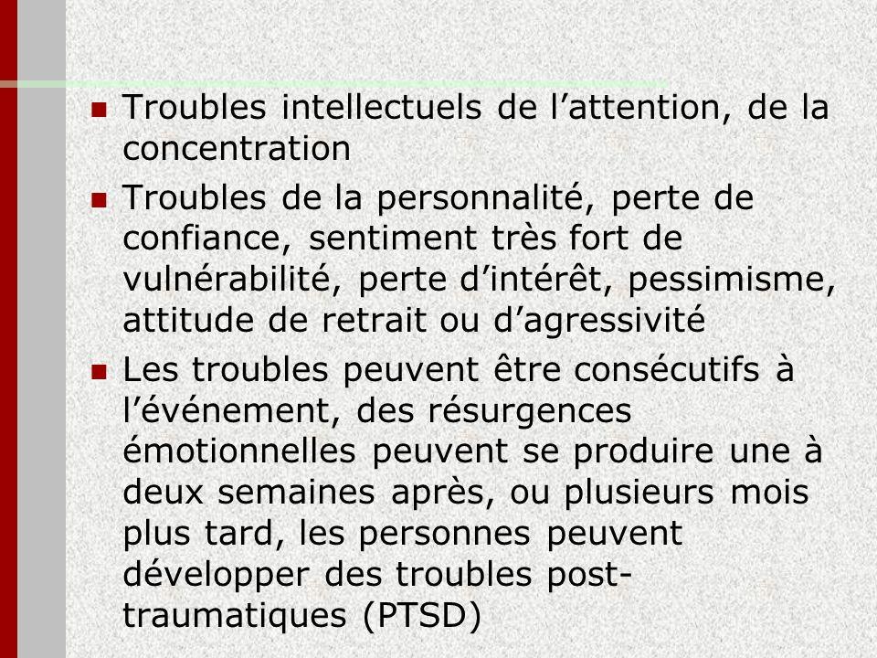 Troubles intellectuels de lattention, de la concentration Troubles de la personnalité, perte de confiance, sentiment très fort de vulnérabilité, perte