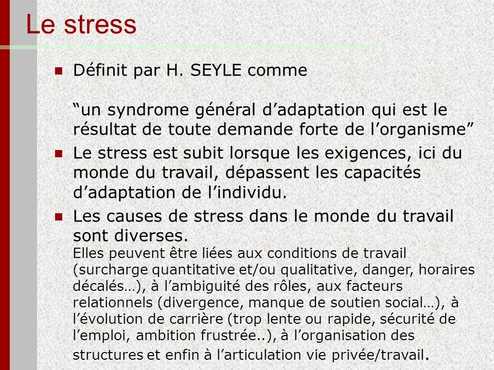 Le stress Définit par H. SEYLE comme un syndrome général dadaptation qui est le résultat de toute demande forte de lorganisme Le stress est subit lors