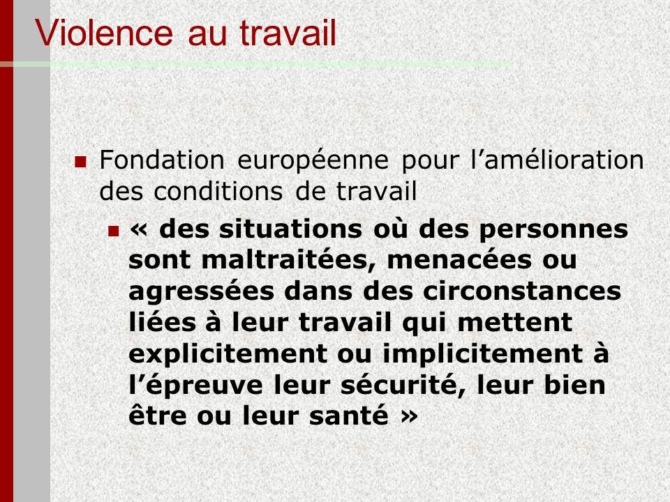 Violence au travail Fondation européenne pour lamélioration des conditions de travail « des situations où des personnes sont maltraitées, menacées ou