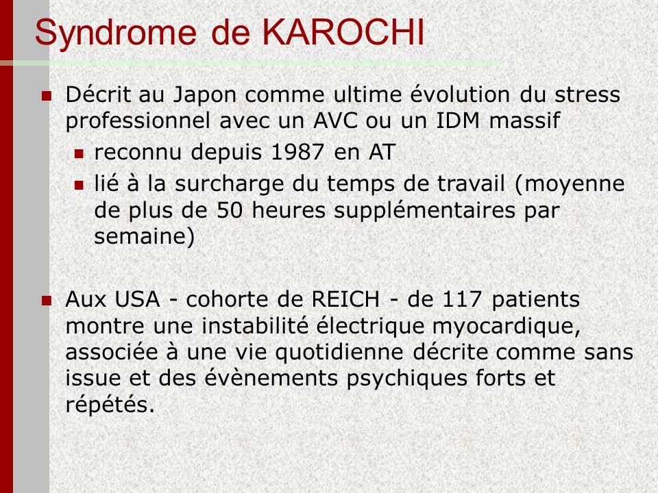 Syndrome de KAROCHI Décrit au Japon comme ultime évolution du stress professionnel avec un AVC ou un IDM massif reconnu depuis 1987 en AT lié à la sur
