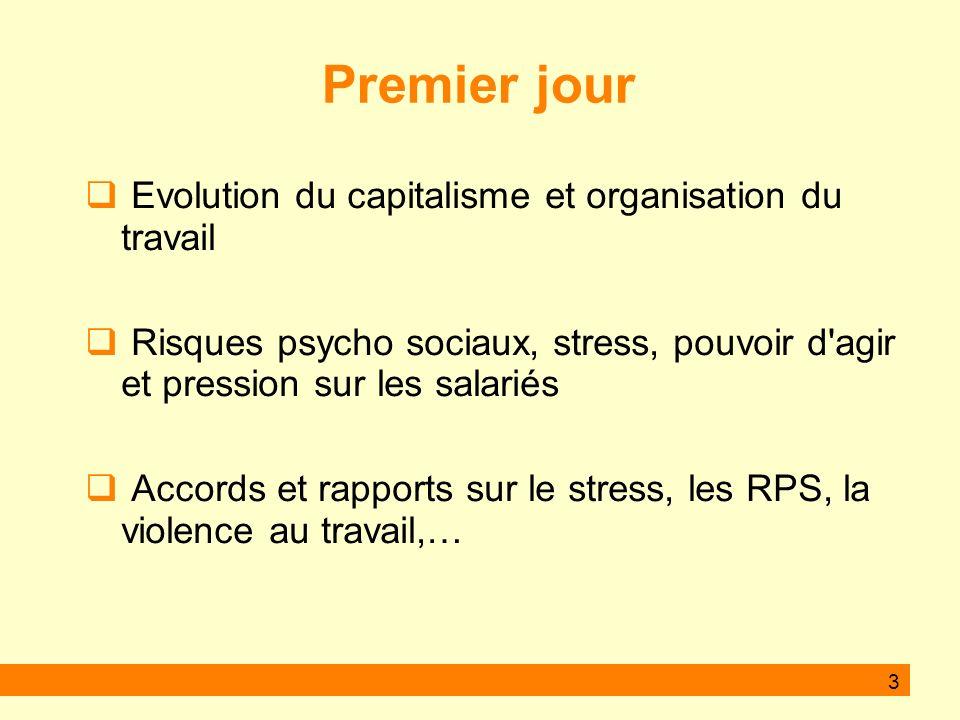 Premier jour Evolution du capitalisme et organisation du travail Risques psycho sociaux, stress, pouvoir d agir et pression sur les salariés Accords et rapports sur le stress, les RPS, la violence au travail,… 3