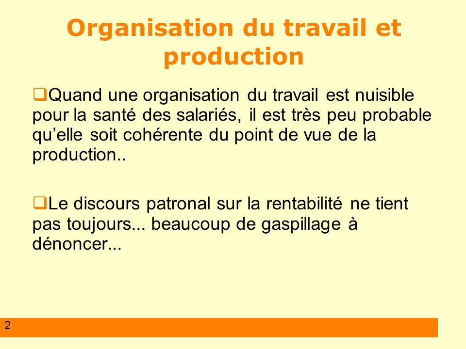 2 Organisation du travail et production Quand une organisation du travail est nuisible pour la santé des salariés, il est très peu probable quelle soit cohérente du point de vue de la production..