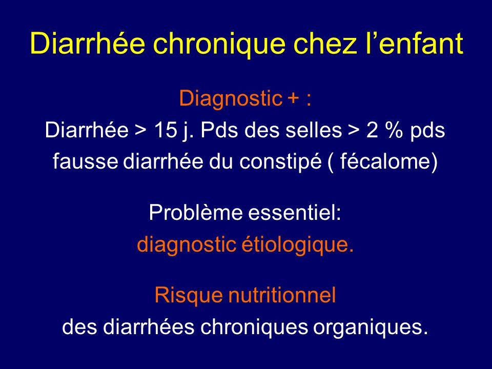 Diarrhée chronique chez lenfant Diagnostic + : Diarrhée > 15 j. Pds des selles > 2 % pds fausse diarrhée du constipé ( fécalome) Problème essentiel: d
