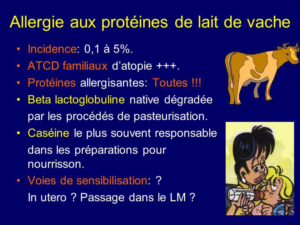 Incidence: 0,1 à 5%. ATCD familiaux datopie +++. Protéines allergisantes: Toutes !!! Beta lactoglobuline native dégradée par les procédés de pasteuris