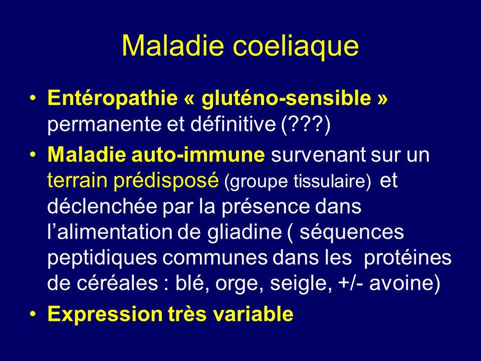Maladie coeliaque Entéropathie « gluténo-sensible » permanente et définitive (???) Maladie auto-immune survenant sur un terrain prédisposé (groupe tis