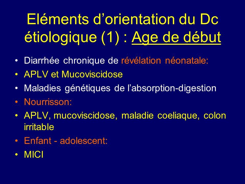 Eléments dorientation du Dc étiologique (1) : Age de début Diarrhée chronique de révélation néonatale: APLV et Mucoviscidose Maladies génétiques de la