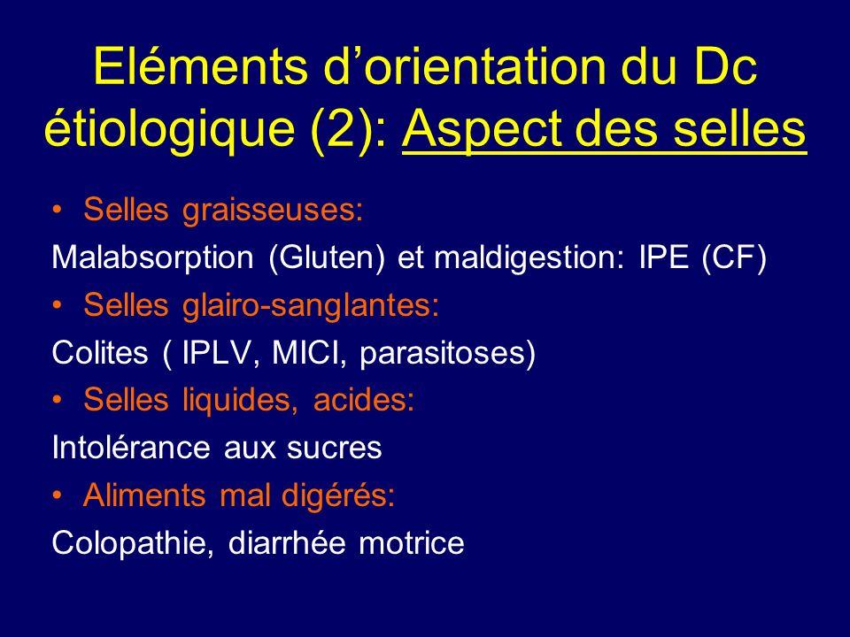 Eléments dorientation du Dc étiologique (2): Aspect des selles Selles graisseuses: Malabsorption (Gluten) et maldigestion: IPE (CF) Selles glairo-sang