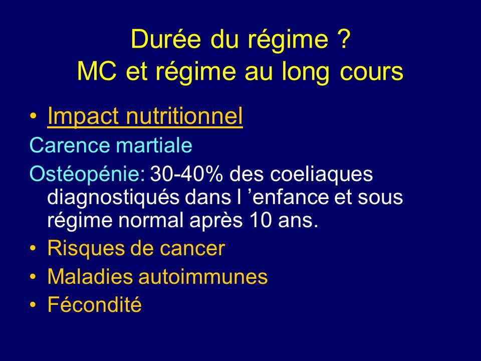 Durée du régime ? MC et régime au long cours Impact nutritionnel Carence martiale Ostéopénie: 30-40% des coeliaques diagnostiqués dans l enfance et so