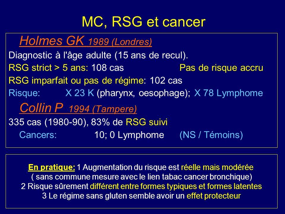 MC, RSG et cancer Holmes GK 1989 (Londres) Diagnostic à l'âge adulte (15 ans de recul). RSG strict > 5 ans: 108 casPas de risque accru RSG imparfait o