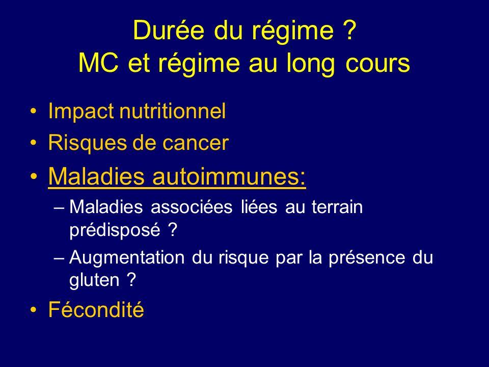 Durée du régime ? MC et régime au long cours Impact nutritionnel Risques de cancer Maladies autoimmunes: –Maladies associées liées au terrain prédispo