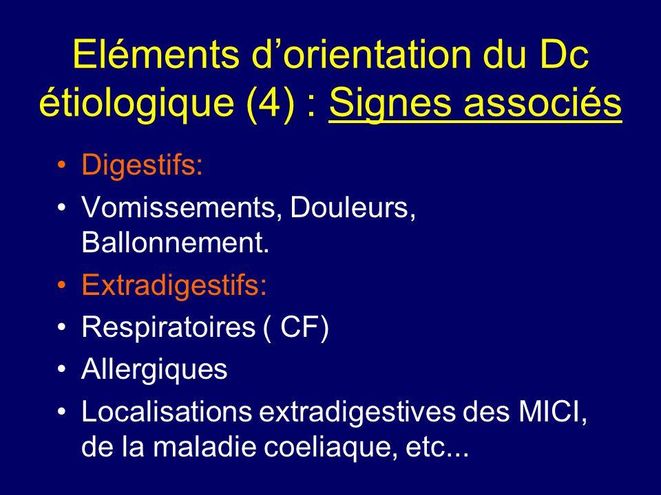 Eléments dorientation du Dc étiologique (4) : Signes associés Digestifs: Vomissements, Douleurs, Ballonnement. Extradigestifs: Respiratoires ( CF) All
