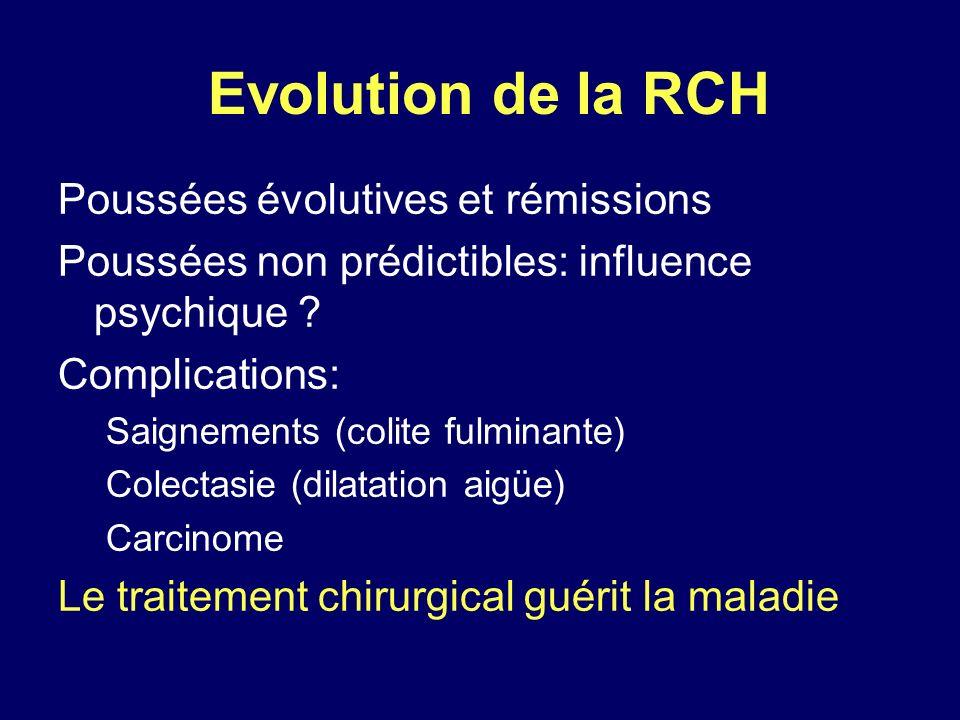 Evolution de la RCH Poussées évolutives et rémissions Poussées non prédictibles: influence psychique ? Complications: Saignements (colite fulminante)