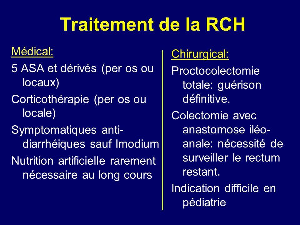 Traitement de la RCH Médical: 5 ASA et dérivés (per os ou locaux) Corticothérapie (per os ou locale) Symptomatiques anti- diarrhéiques sauf Imodium Nu