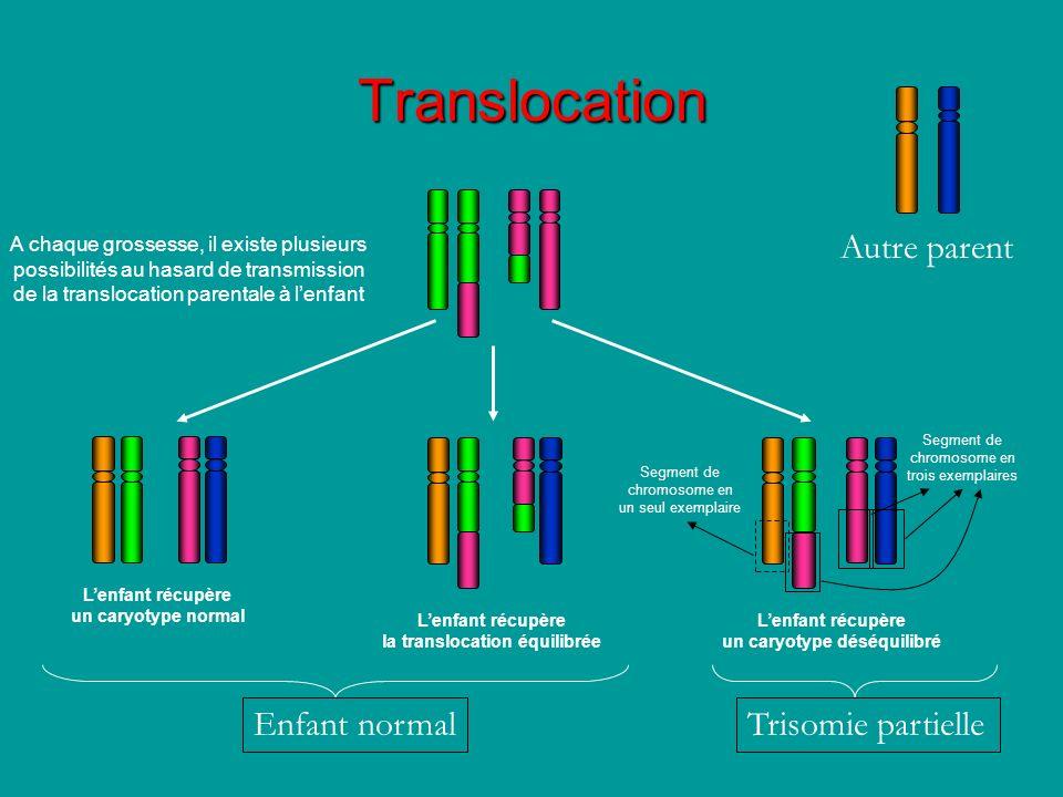 A chaque grossesse, il existe plusieurs possibilités au hasard de transmission de la translocation parentale à lenfant Lenfant récupère un caryotype n
