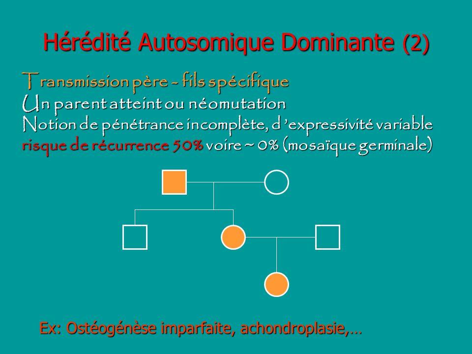 Hérédité Autosomique Dominante (2) Transmission père - fils spécifique Un parent atteint ou néomutation Notion de pénétrance incomplète, d expressivit