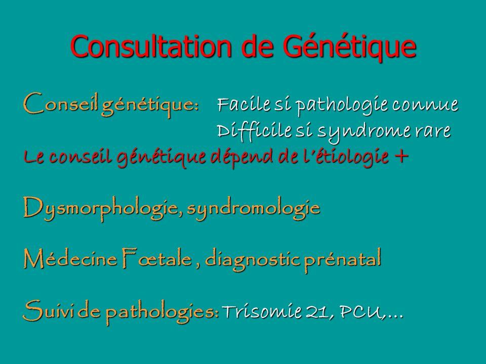 Consultation de Génétique Conseil génétique: Facile si pathologie connue Difficile si syndrome rare Le conseil génétique dépend de létiologie + Dysmor