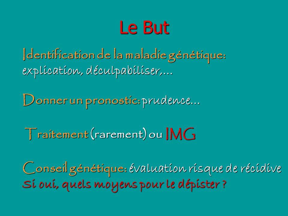 Le But Identification de la maladie génétique: explication, déculpabiliser,… Donner un pronostic: prudence… Traitement (rarement) ou IMG Conseil génét