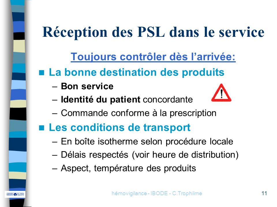 hémovigilance - IBODE - C.Trophilme11 Réception des PSL dans le service Toujours contrôler dès larrivée: La bonne destination des produits –Bon servic