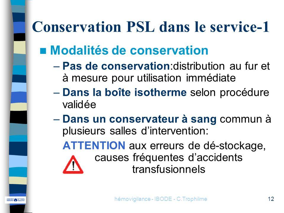 hémovigilance - IBODE - C.Trophilme12 Conservation PSL dans le service-1 Modalités de conservation –Pas de conservation:distribution au fur et à mesur