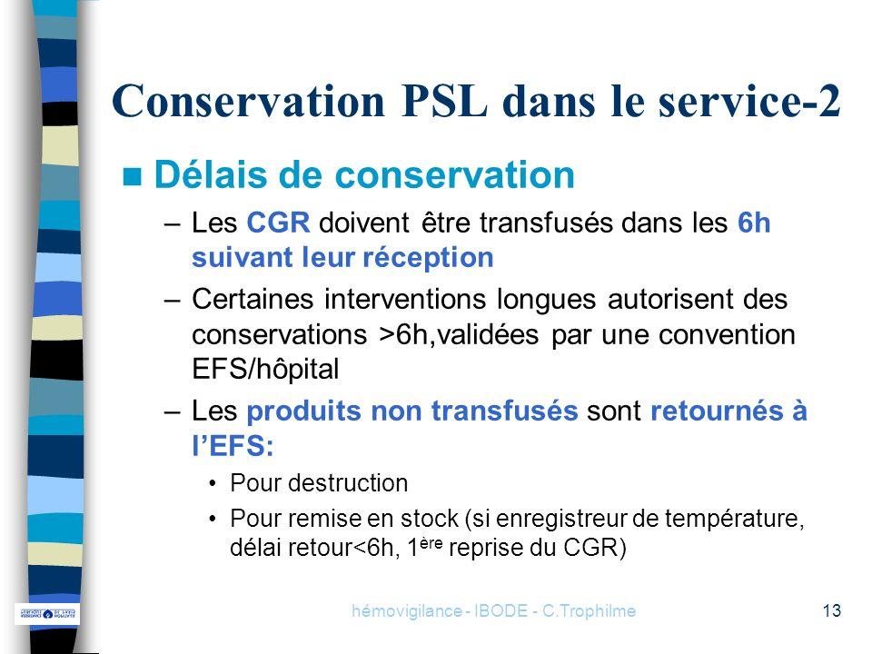 hémovigilance - IBODE - C.Trophilme13 Conservation PSL dans le service-2 Délais de conservation –Les CGR doivent être transfusés dans les 6h suivant l