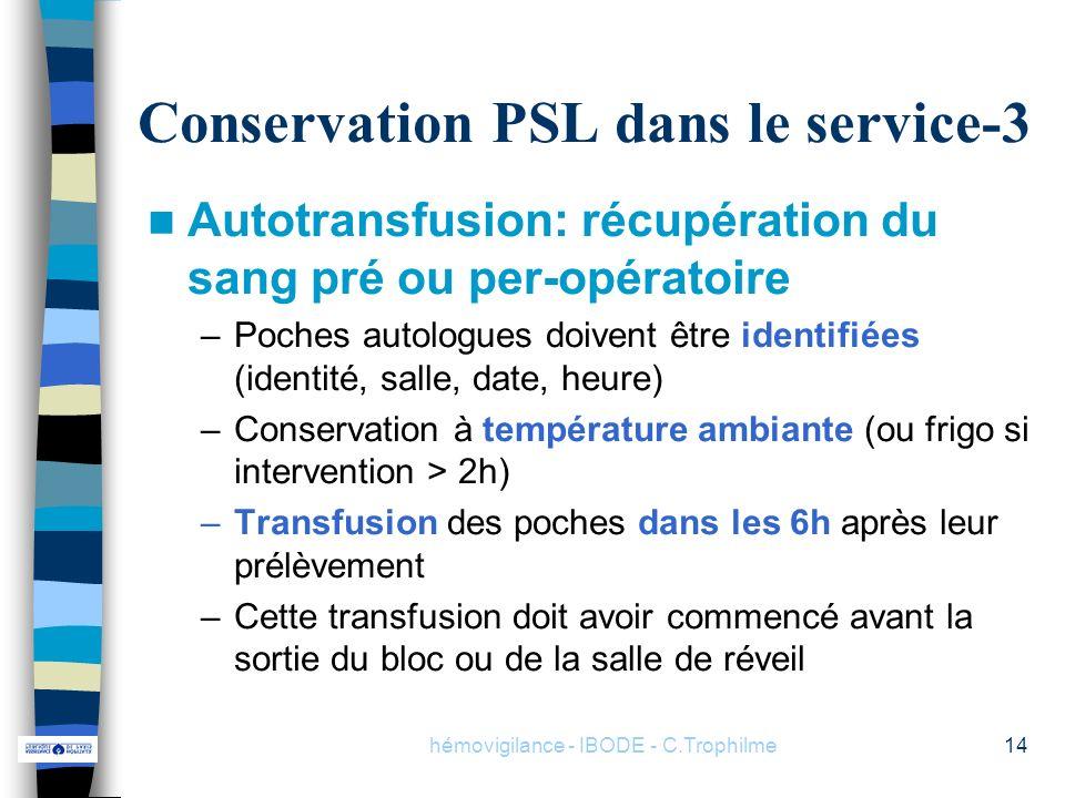 hémovigilance - IBODE - C.Trophilme14 Conservation PSL dans le service-3 Autotransfusion: récupération du sang pré ou per-opératoire –Poches autologue