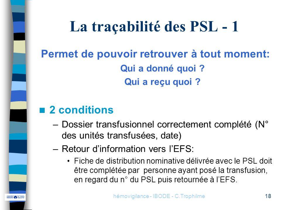 hémovigilance - IBODE - C.Trophilme18 La traçabilité des PSL - 1 Permet de pouvoir retrouver à tout moment: Qui a donné quoi ? Qui a reçu quoi ? 2 con