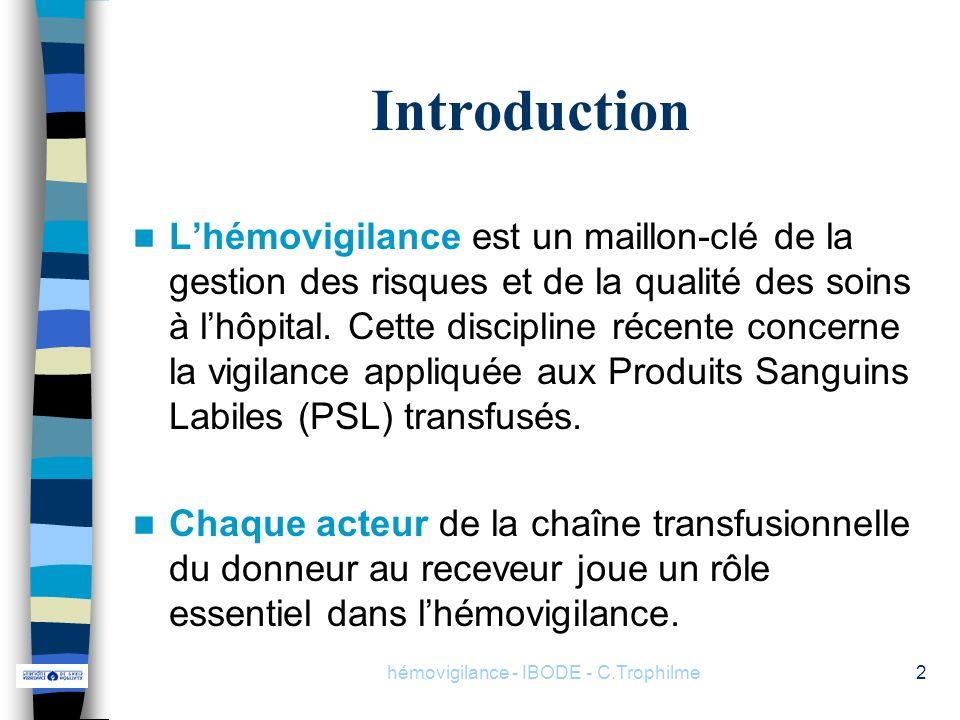 hémovigilance - IBODE - C.Trophilme2 Introduction Lhémovigilance est un maillon-clé de la gestion des risques et de la qualité des soins à lhôpital. C