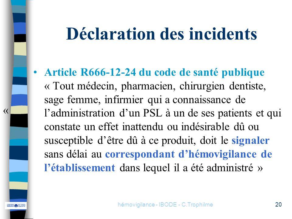 hémovigilance - IBODE - C.Trophilme20 Déclaration des incidents Article R666-12-24 du code de santé publique « Tout médecin, pharmacien, chirurgien de