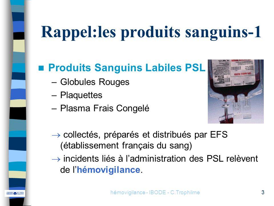 hémovigilance - IBODE - C.Trophilme3 Produits Sanguins Labiles PSL –Globules Rouges –Plaquettes –Plasma Frais Congelé collectés, préparés et distribué
