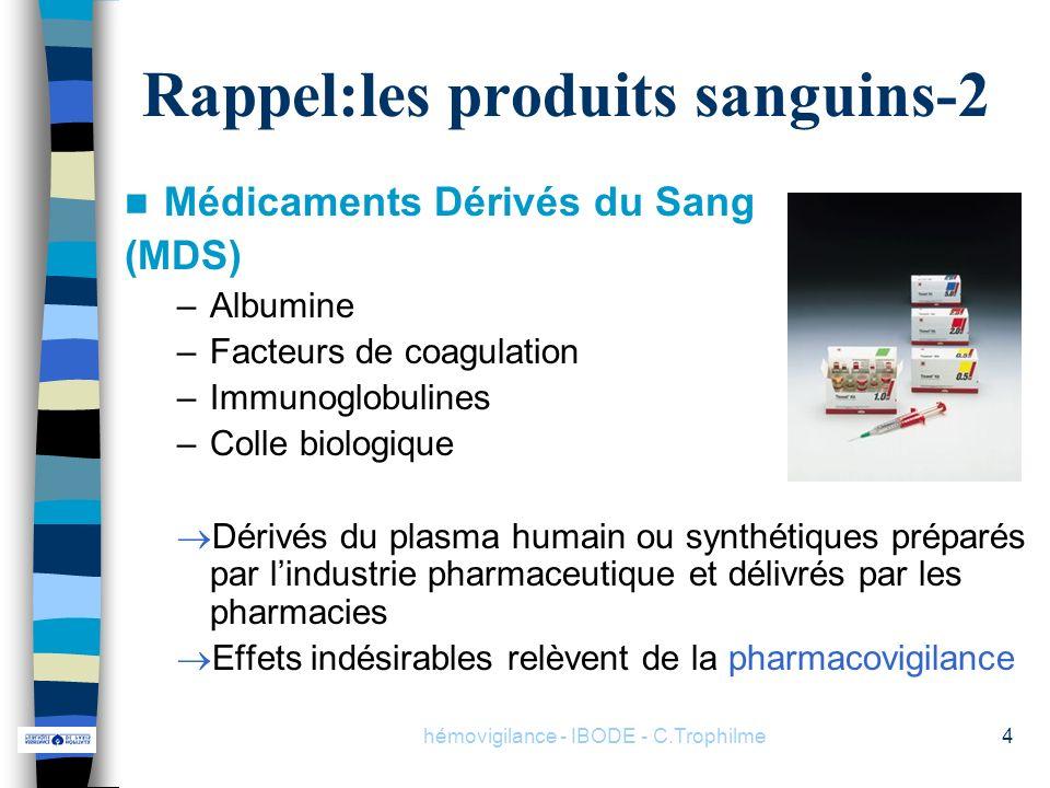 hémovigilance - IBODE - C.Trophilme4 Rappel:les produits sanguins-2 Médicaments Dérivés du Sang (MDS) –Albumine –Facteurs de coagulation –Immunoglobul