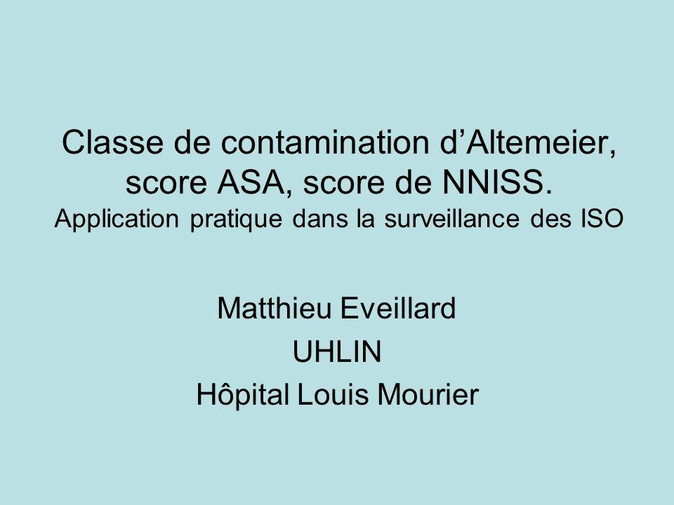 Classe de contamination dAltemeier, score ASA, score de NNISS. Application pratique dans la surveillance des ISO Matthieu Eveillard UHLIN Hôpital Loui