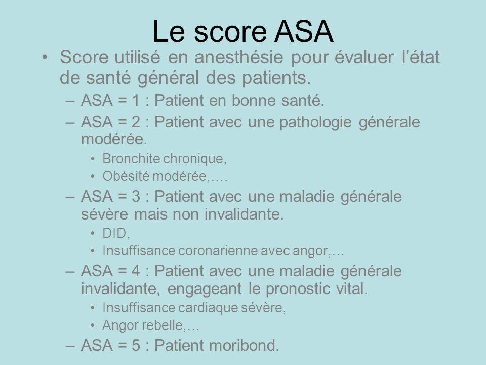 Le score ASA Score utilisé en anesthésie pour évaluer létat de santé général des patients. –ASA = 1 : Patient en bonne santé. –ASA = 2 : Patient avec