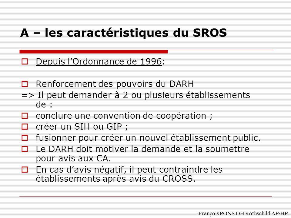 François PONS DH Rothschild AP-HP Depuis lOrdonnance de 1996: Renforcement des pouvoirs du DARH => Il peut demander à 2 ou plusieurs établissements de : conclure une convention de coopération ; créer un SIH ou GIP ; fusionner pour créer un nouvel établissement public.