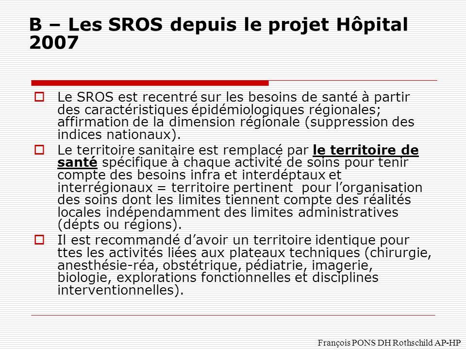 François PONS DH Rothschild AP-HP Le SROS est recentré sur les besoins de santé à partir des caractéristiques épidémiologiques régionales; affirmation de la dimension régionale (suppression des indices nationaux).